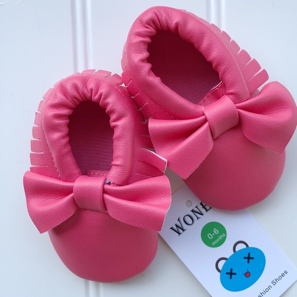 NWT Pink Baby Moccasins | 0-6 months